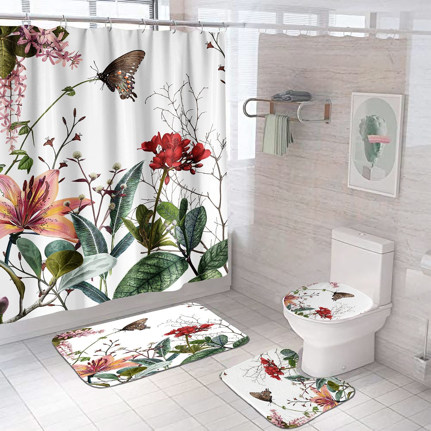 Over item handling ☆ 4 Pcs Toilet Lid Cover Bath Choice Shower Floral Mat Set with Curtain