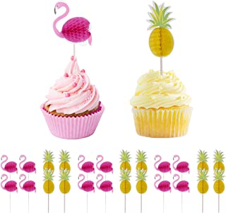 Haley Party Flamingo Pineapple Cupcake Toppers Picks Party Supplies Pool Luau Hawaiian Party Decoration Favors 24 PCS