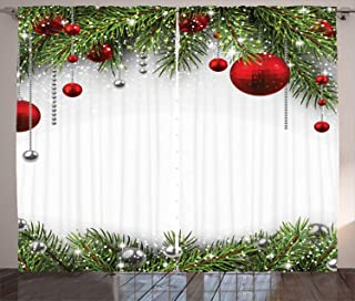 Ambesonne Christmas Curtains, Holiday Season Backdrop with Pine Leaves Ball Classic Design Print, Living Room Bedroom Window Drapes 2 Panel Set, 108