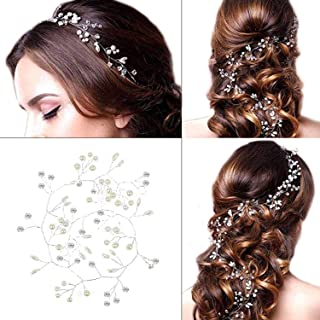 Wedding Bridal Headband - Wedding Headpiece Crystal Pearl Hair Vine Long Bridal Hair Piece Jewelry for Brides and Bridesmaids