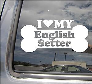 I Heart Love My English Setter - Dog Bone Lawerack Laverack Llewellin Llewellyn Purebred Breed Cars Trucks Moped Helmet Auto Automotive Craft Laptop Vinyl Decal Store Window Wall Sticker 13380