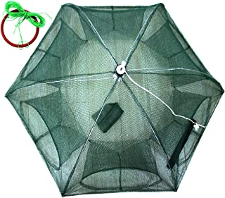 JSHANMEI Foldable Bait Cast Mesh Trap Net Portable Fishing Landing Net Shrimp Cage for Fish Lobster Prawn Minnow Crayfish Crab with Hand Rope Floating Circle