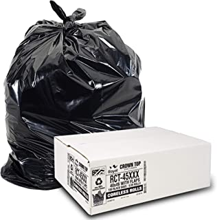 Heavy Duty 45 Gallon Trash Bags - (Huge 100 Pack/w Flap Ties) - 2.0 MIL (Equivalent) 40