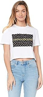 Calvin Klein Jeans Women's Flower Box Crop T Shirt, Bright White/Navy Floral Box