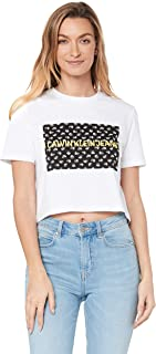 Calvin Klein Jeans Women's Flower Box Crop T Shirt, Bright White/Navy Floral Box