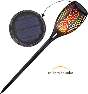 Californian Solar Lights Outdoor | Long Working Time Dusk to Dawn Solar Torch Light with Flickering Flame Design | Decorative Solar Lights for Driveway or Backyard | Waterproof and Dustproof | 1 Pack