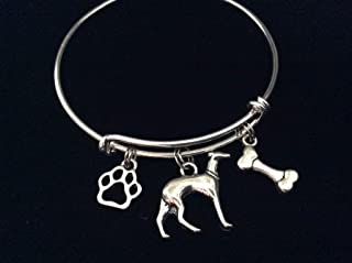Greyhound with Bone and Paw Print Expandable Charm Bracelet Bangle
