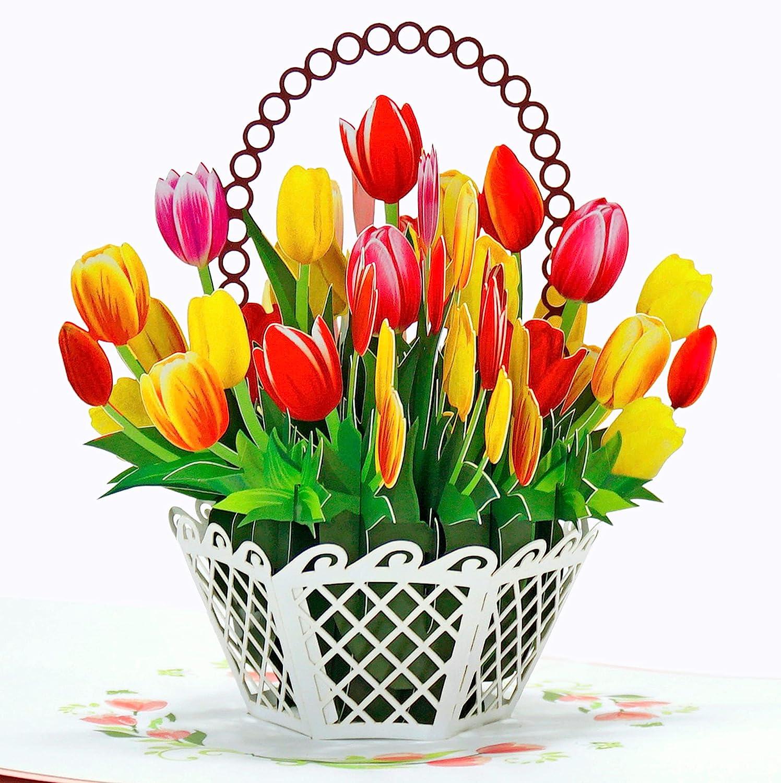CUTPOPUP Tulip Flowers Basket Pop Max 77% OFF Cards Card Up Bargain Flower