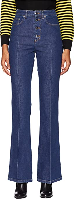 Stretch High-Waisted Button Up Flare Jeans