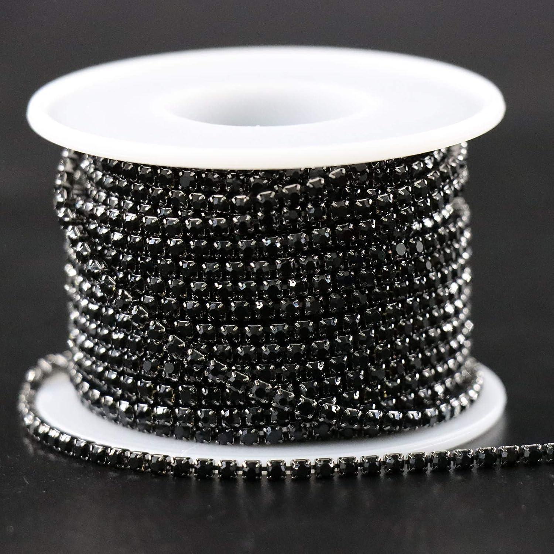 Jerler 10 Yards Crystal Rhinestone Trim 2.5mm Close Chain for Sewing Crafts Ideal Wedding Party DIY Decoration Gold