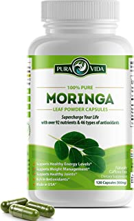 Organic Moringa Oleifera Powder Capsules: Natural Joint and Arthritis Pain Relief. Energy, Metabolism, and Immune Booster....