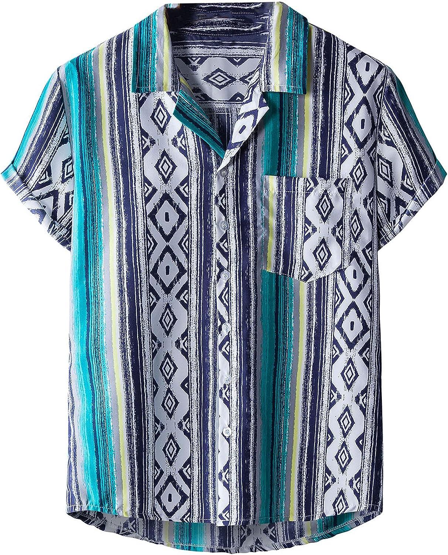 Men's Button Down Aloha Hawaiian Shirts Short Sleeve Floral Printed Beach Shirts Summer Casual Tee Loose Top
