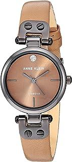 Women's Genuine Diamond Dial Gunmetal and Cream Leather Strap Watch