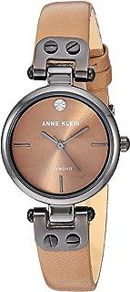 Anne Klein Women's Genuine Diamond Dial Gunmetal and Cream Leather Strap Watch