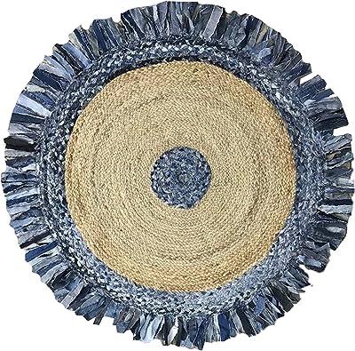 "Home Weavers Haven Jute Braid Soft Rug, 36"" Round, Denim/Natural"