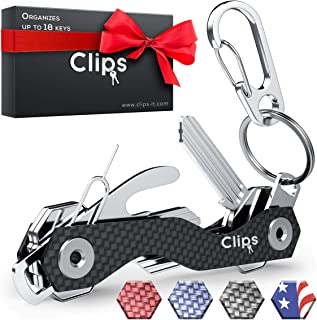 Clips Smart Compact Key Organizer Holder Keychain – Made of Carbon Fiber &..