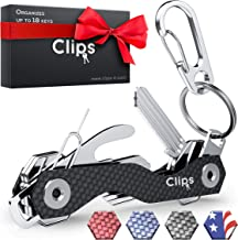 Smart Compact Key Organizer Holder Keychain - Made of Carbon Fiber & Stainless Steel- Pocket Organizer Up to 28 Keys- Lightweight, Strong Includes Bottle Opener, Carabiner & More