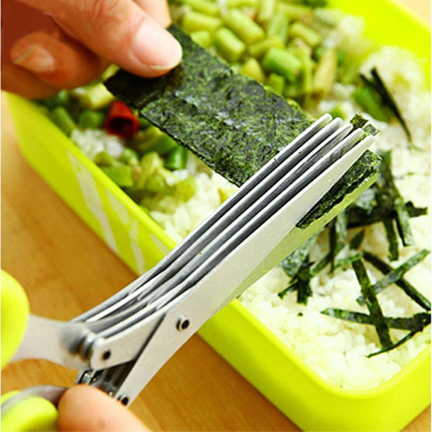 Multi-functional Stainless Steel Kitchen Knives 5 Layers Scissors Sushi Shredded Scallion Cut Herb Spices Scissors Cooking Tools Kangkang (Blue)