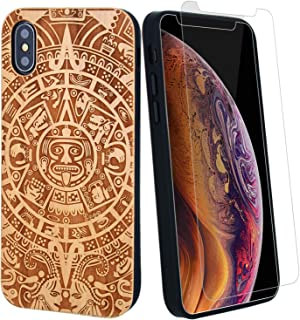 Mayan Calendar Wood Phone Case Compatible with iPhone X, XS Including Strong Glass Screen Protector, Aztec Wireless Charging Compatible