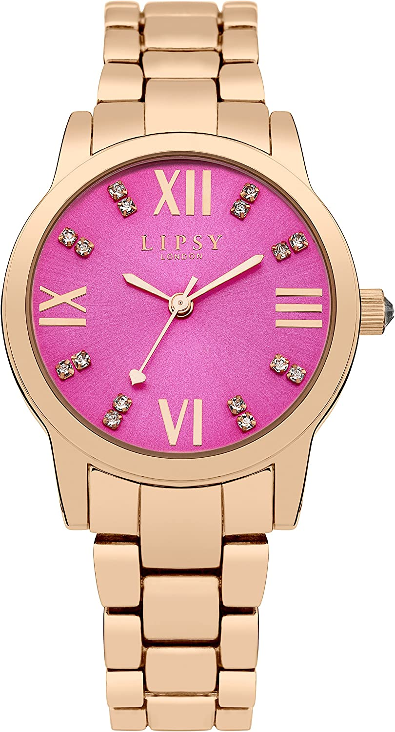 Lipsy Women's Quartz Manufacturer OFFicial shop Watch with Pink Display Analogue Dial R and Max 64% OFF