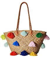 BSB1566 Seagrass Tote with Multicolored Poms and Pleather Handle