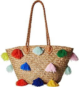 San Diego Hat Company BSB1566 Seagrass Tote with Multicolored Poms and Pleather Handle