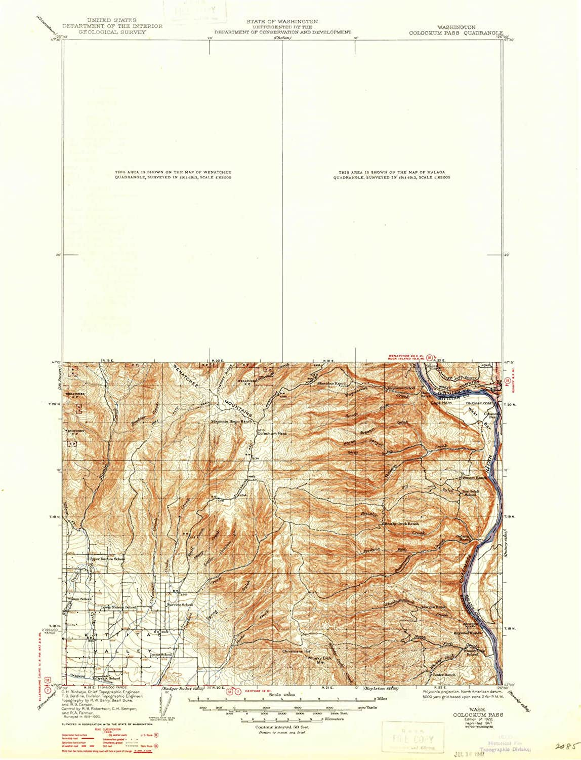 Colockum Pass WA topo map, 1 125000 Scale, 30 X 30 Minute, Historical, 1922, Updated 1947, 20.6 x 15.9 in