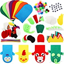 8 Pieces DIY Thick Felt Puppets Hand Puppet Craft Kit Felt Sock Puppet Hand Puppet Making Kit with Pompoms and Wiggle Googly Eyes Role Play Party Supplies for Boys and Girls