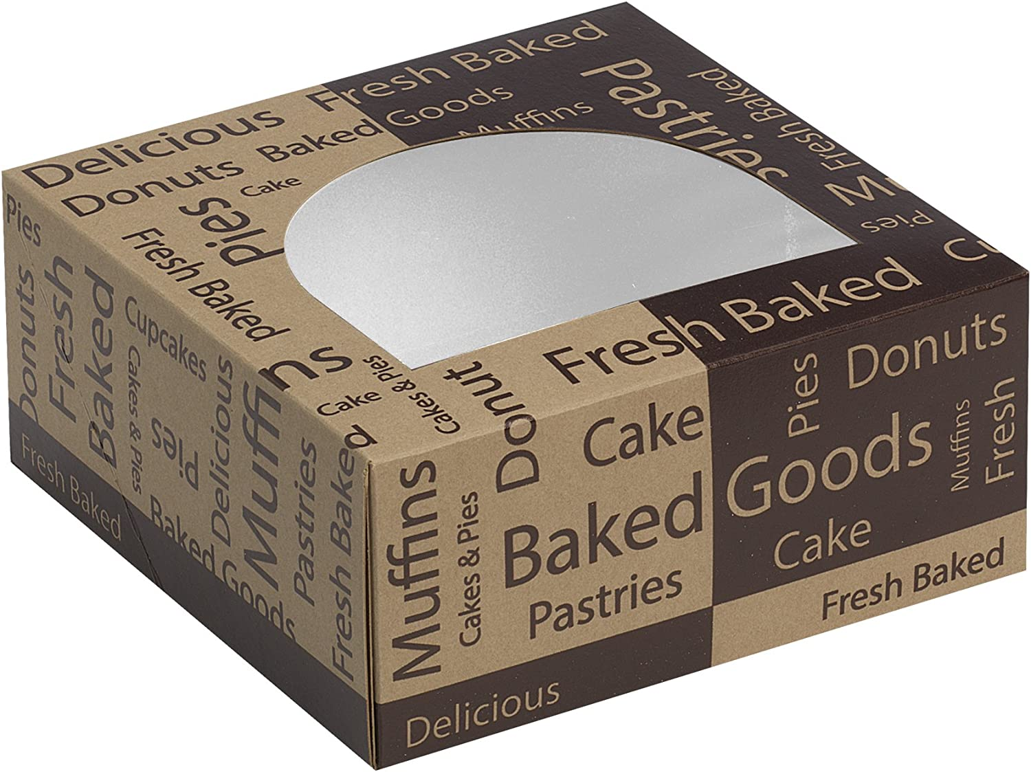 Dixie Windowed Cake Box by GP PRO (Georgia-Pacific), Brown Bakery Design, KFT9X9X4, 9  Width x 9  Length, (Case of 100 Boxes)
