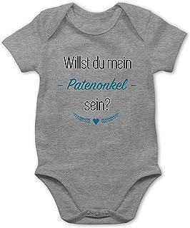 Shirtracer Strampler Motive - Willst du Mein Patenonkel Sein Herz - Baby Body Kurzarm für Jungen und Mädchen