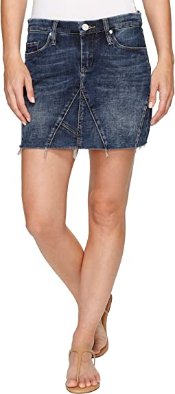 Blank NYC - Denim Mini Skirt Frayed Bottom in Side Hustle