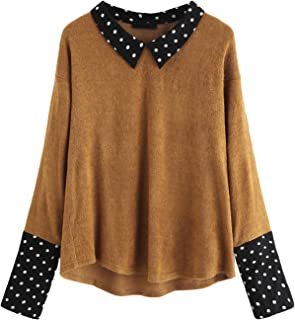ROMWE Women's Loose Contrast Polka Dot Collar Long Sleeve Blouse Knit Tops