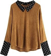 Romwe Women's Loose Contrast Polka Dot Collar Long Sleeve Blouse Knit Tops