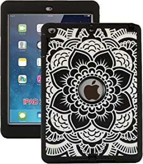 iPad 9.7 2018/2017 Case, ZERMU Black Flower Design Shock-Absorption Silicone High Impact Resistant Hybrid Three Layer Hard Plastic+Silicone Armor Defender Protective Cover for iPad 6th Generation