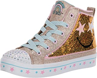 Girls Tennis Shoes High Top Glitter Lights Up LED Sneakers Kids Youth Strap New