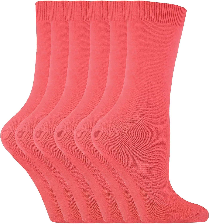 Sock Snob 6 Pairs Ladies Womens Casual Cotton Rich Solid Plain Color Dress Socks PL30