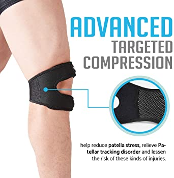Patellar Tendon Support Strap (Small/Medium), Knee Pain Relief Adjustable Neoprene Knee Strap for Running, Arthritis,...