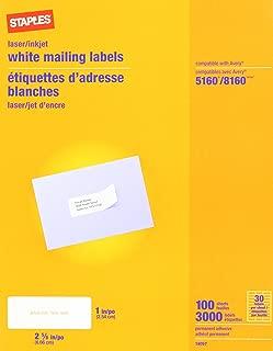 Staples White Inkjet/Laser Address Labels, 1