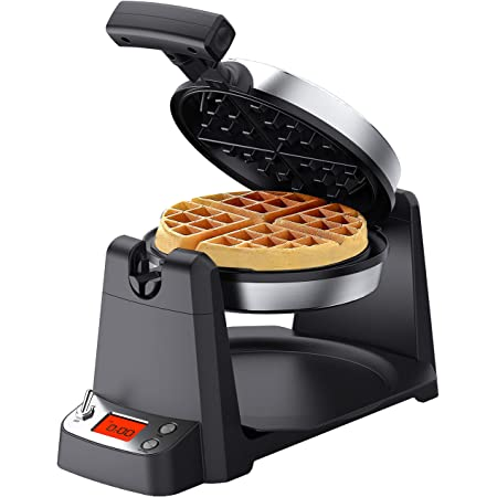 """Elechomes Flip Belgian Waffle Maker with LCD Display (1.4"""" Thick Waffles), 180° Rotating Waffle Iron, Digital Timer, Non-Stick Coating Plates, Removable Drip Tray, Recipes Included, Stainless Steel"""