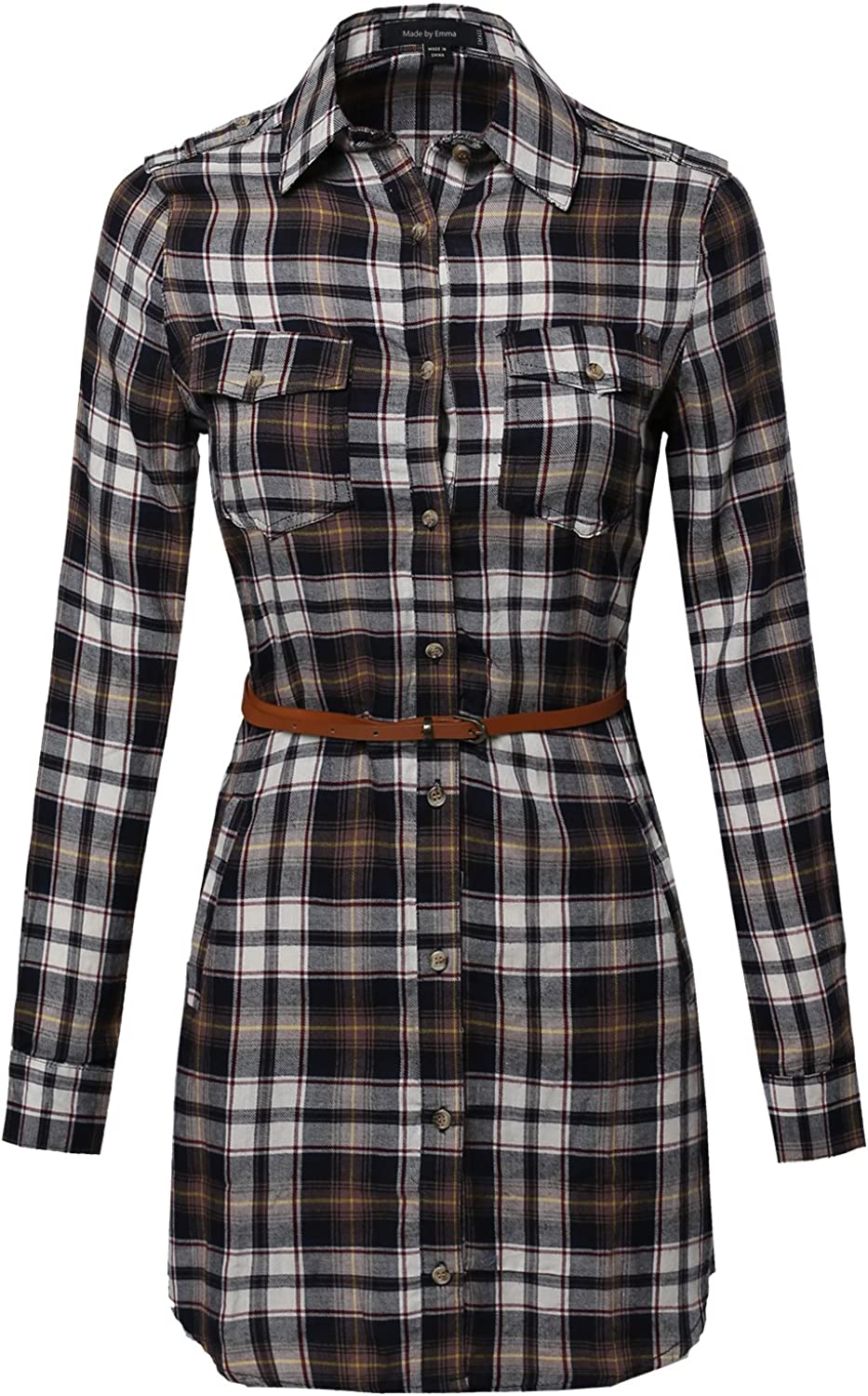 Made by Emma MBE Women's Super Cute Flannel Plaid Checker Shirts Dress with Belt