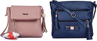 GLOSSY Women's PU Sling Bag with Keychain and Sling Bag with 5 Zip Compartments Combo (Pink and Blue)