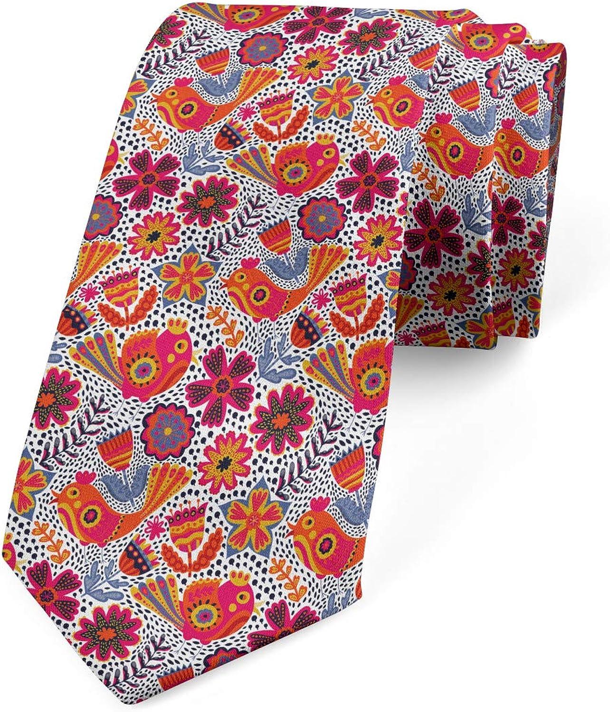 Ambesonne Men's Tie, Chaotic Floral Spring Bird, Necktie, 3.7
