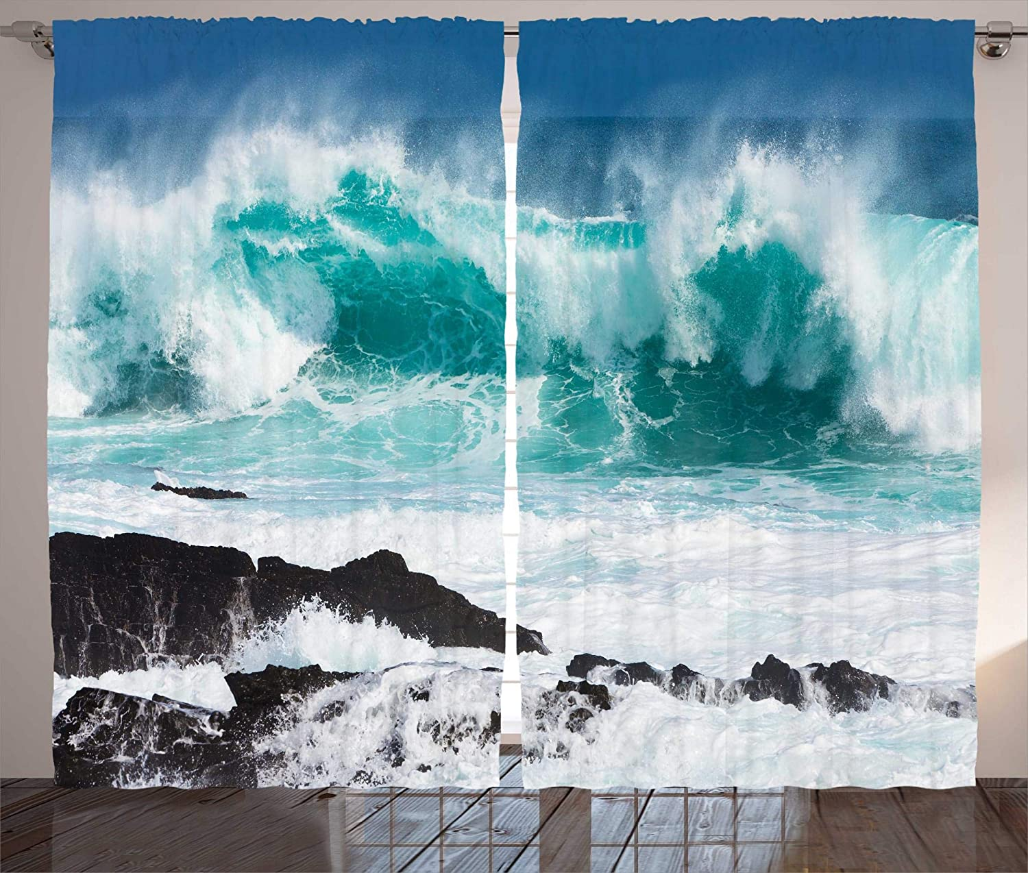 Ambesonne Modern Decor Curtains, Majestic Rolling Wave Slamming on Rocks of the Sea Coastline Ocean Scene, Living Room Bedroom Window Drapes 2 Panel Set, 108W X 84L Inches, Turquoise White