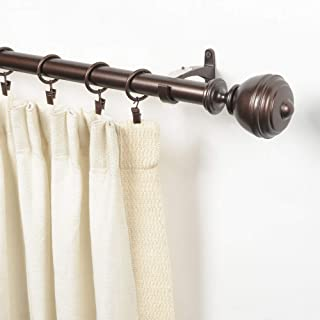Deco Window 1 Inch Adjustable Brown Curtain Rod for Windows Curtains with Oval Finials & Brackets Set - 52