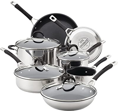 Circulon Momentum Stainless Steel Nonstick Cookware Set with Glass Lids, 11-Piece Pot and Pan Set, Stainless Steel