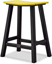product image for POLYWOOD 2011-FBLLE Contempo Counter Height Saddle Seat Barstool, Black Frame, Lemon