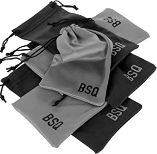 "Microfiber Pouch - Soft Storage Bag(s) for Glasses and Cell Phones (Black&Gray 4"" x 7.75"")"
