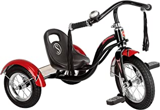 Schwinn Roadster Tricycle with Classic Bicycle Bell and Handlebar Tassels, Featuring Retro Steel Frame and Adjustable Seat, for Children and Kids Ages 2-4 Years Old, Black