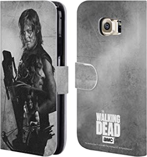 Official AMC The Walking Dead Daryl Double Exposure Leather Book Wallet Case Cover Compatible for Samsung Galaxy S6