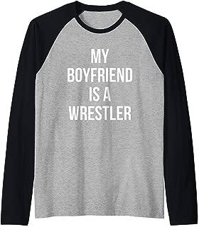My Boyfriend Is A Wrestler Gift For Girlfriends Boyfriends Raglan Baseball Tee